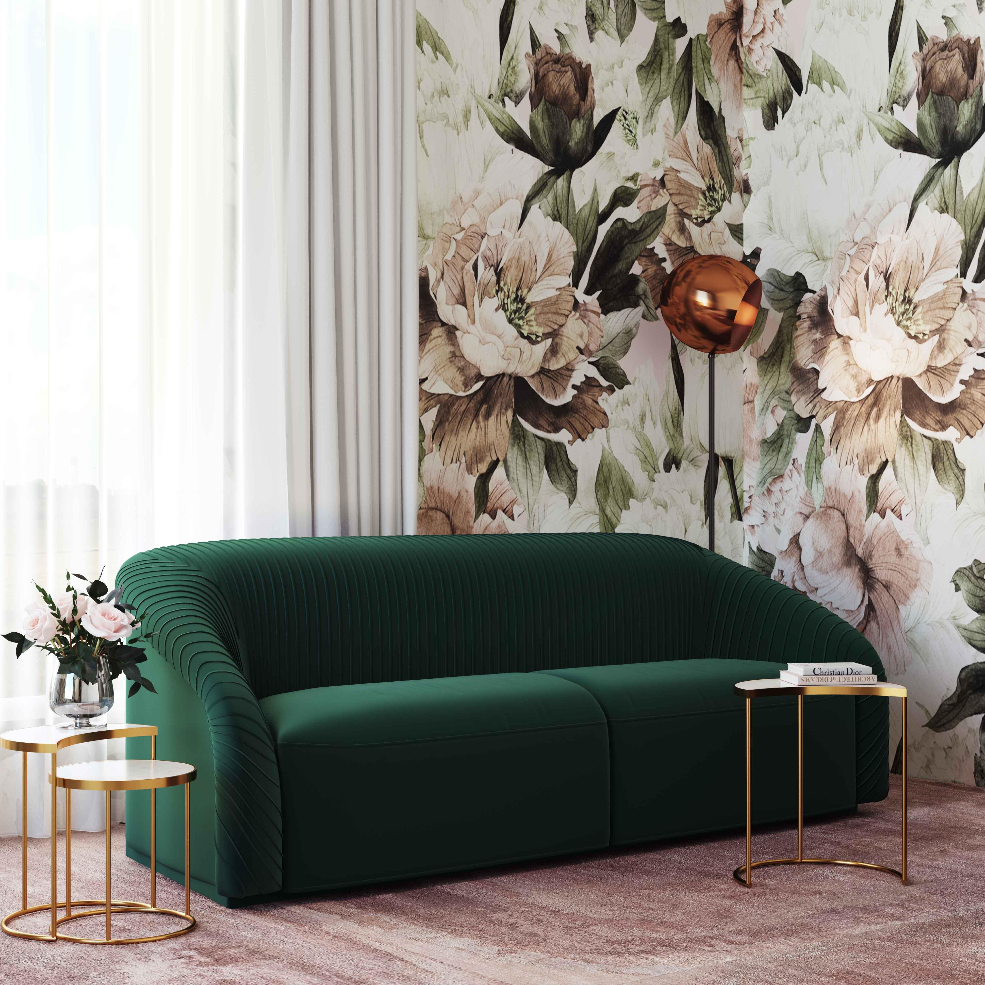 Yara Pleated Beige Velvet Sofa By Inspire Me Home Decor Tov Furniture