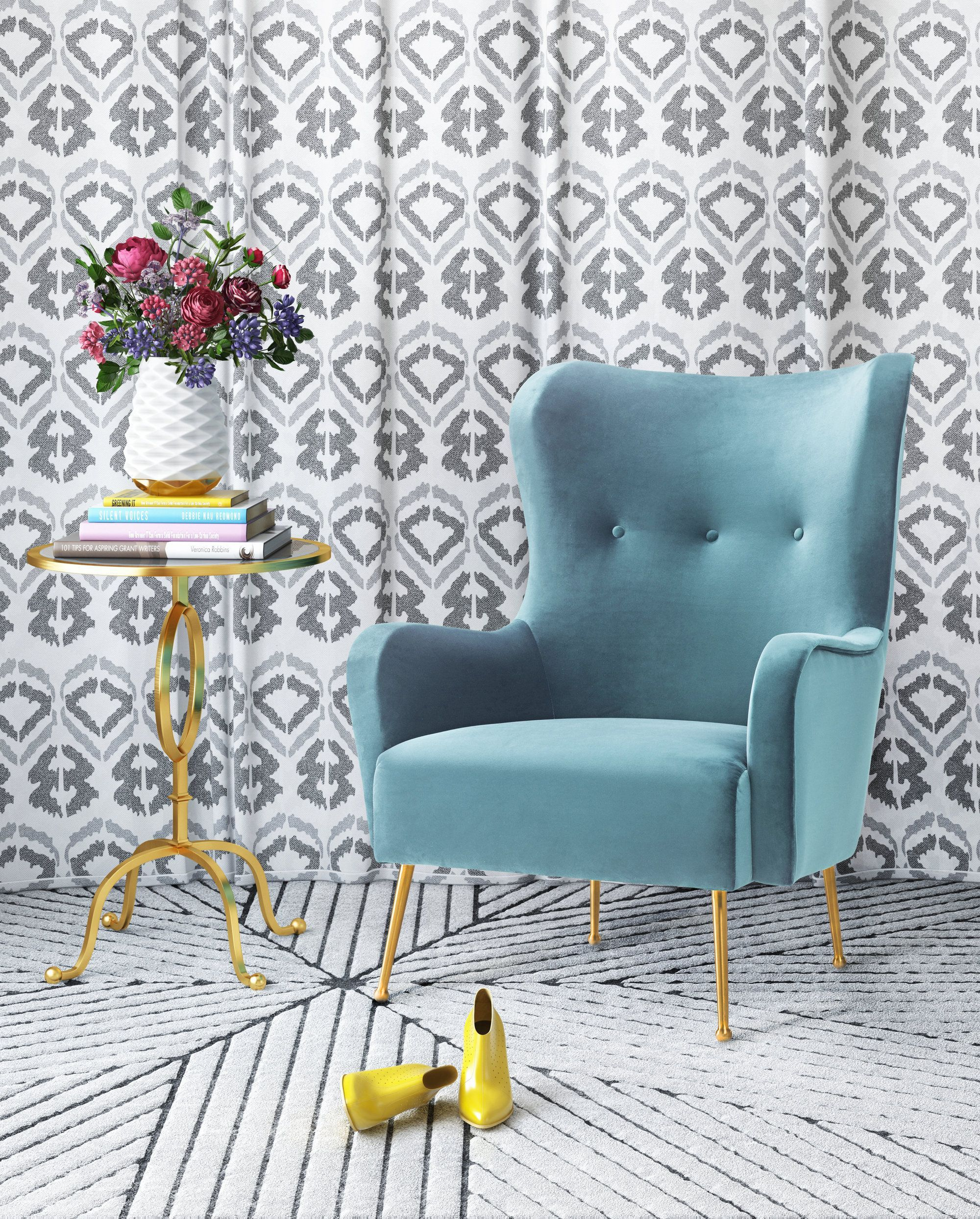 image of Ethan Sea Blue Velvet Chair with sku:TOV-A145