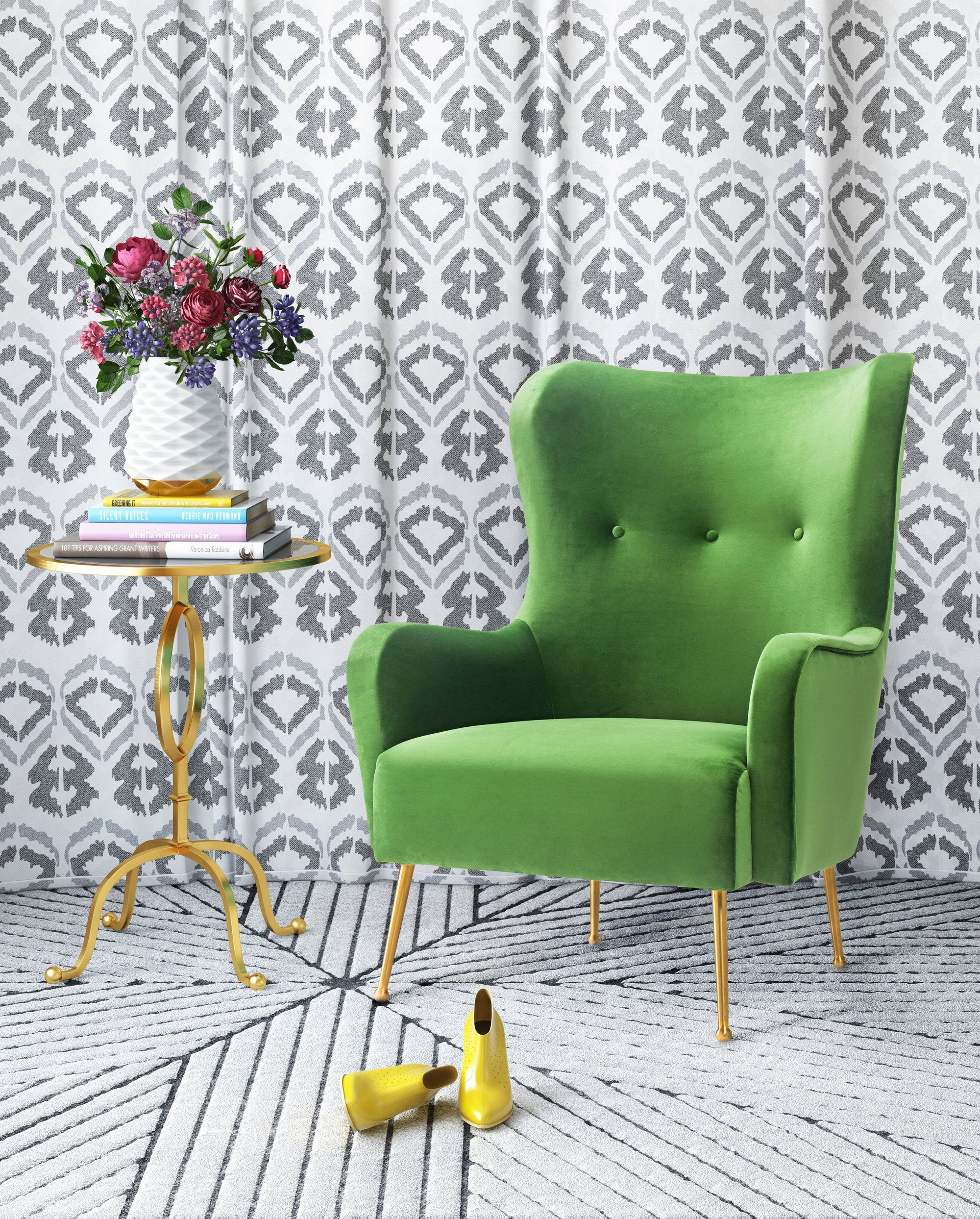 image of Ethan Green Velvet Chair with sku:TOV-A157