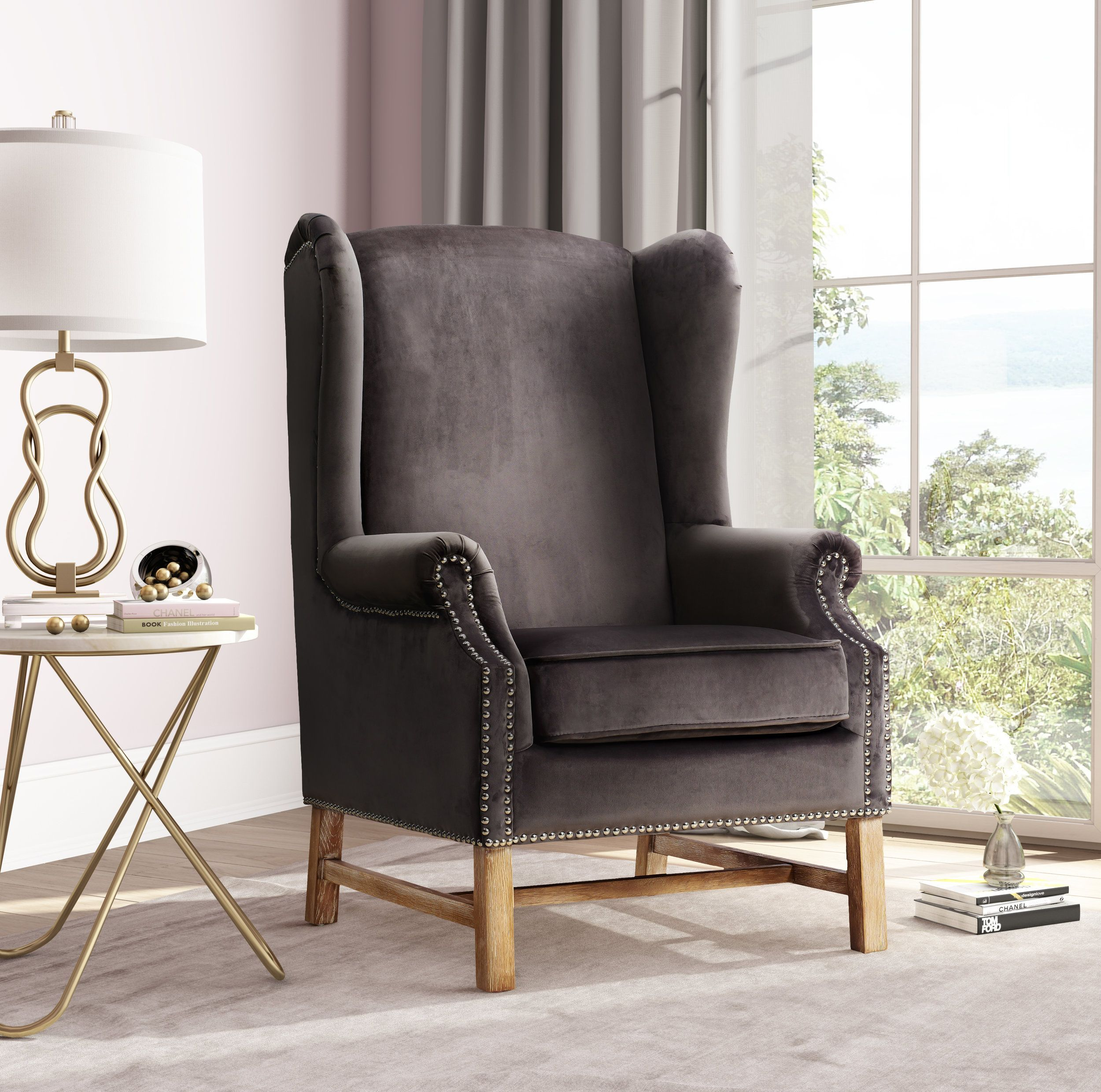 image of Nora Grey Velvet Chair with sku:TOV-A2043