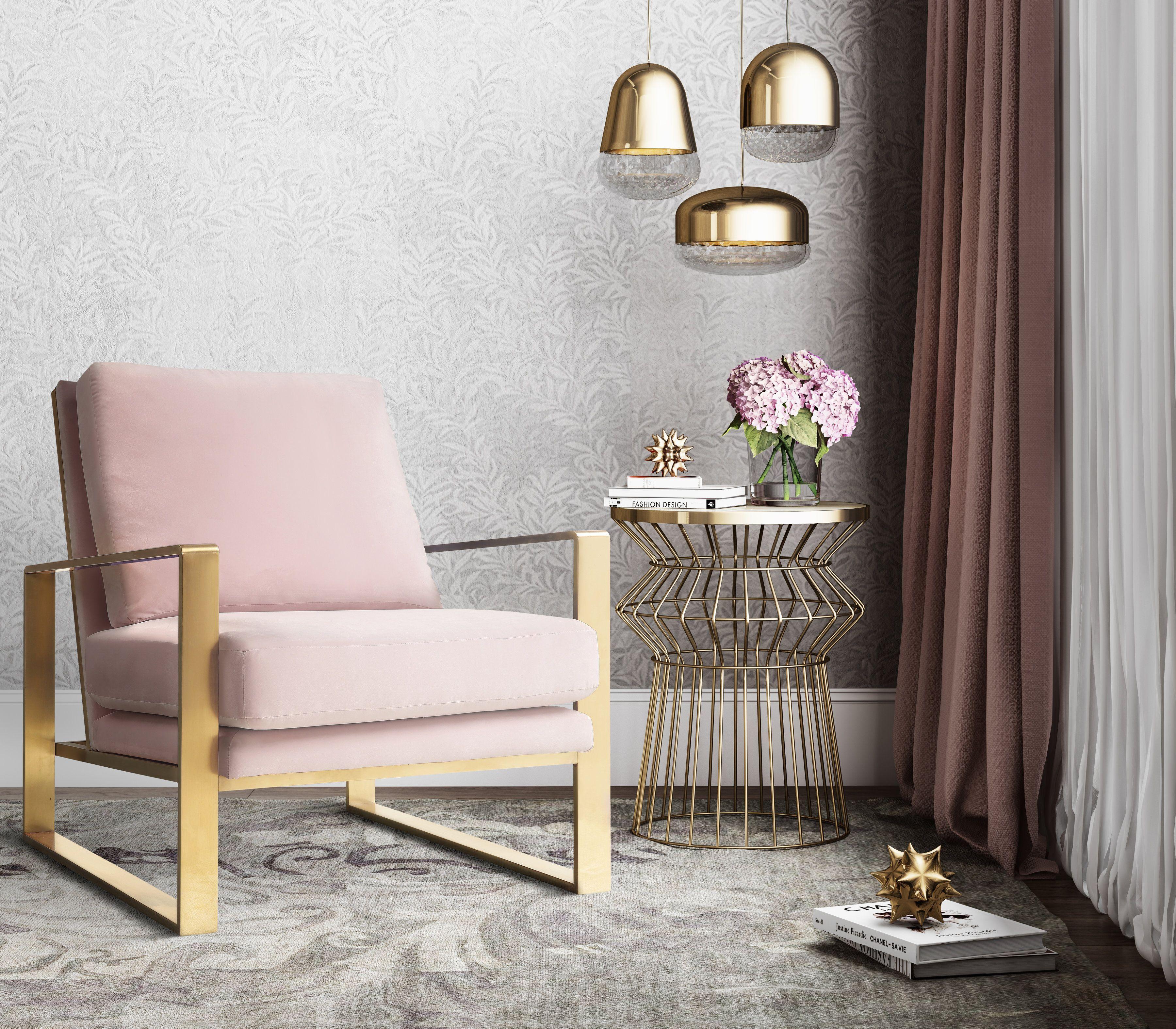 image of Mott Blush Velvet Chair with sku:TOV-A213