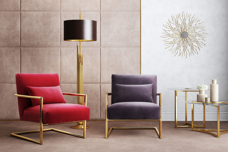 image of Elle Pink Velvet Chair with sku:TOV-S6143