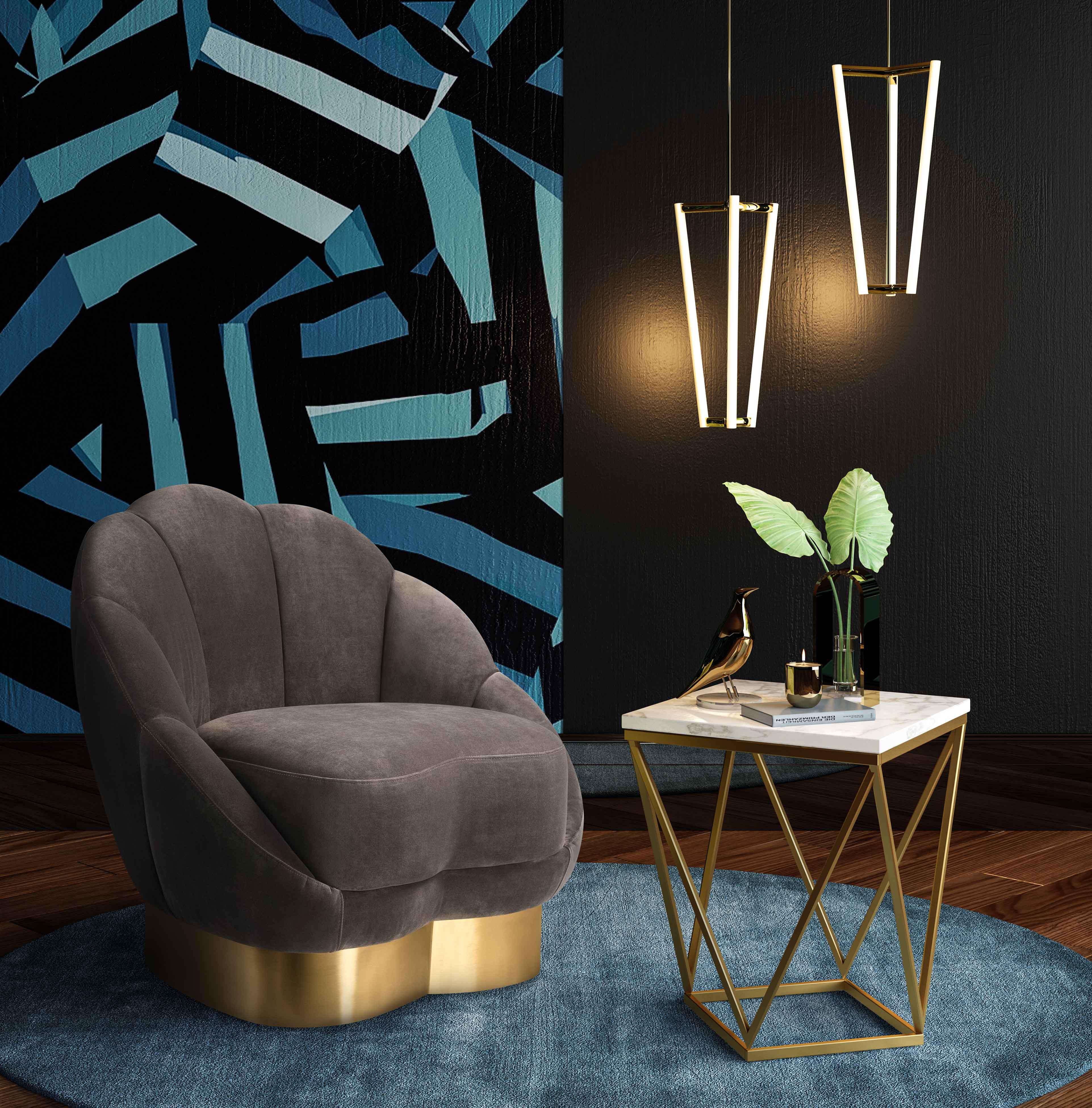 image of Bloom Light Grey Velvet Chair with sku:TOV-S6185