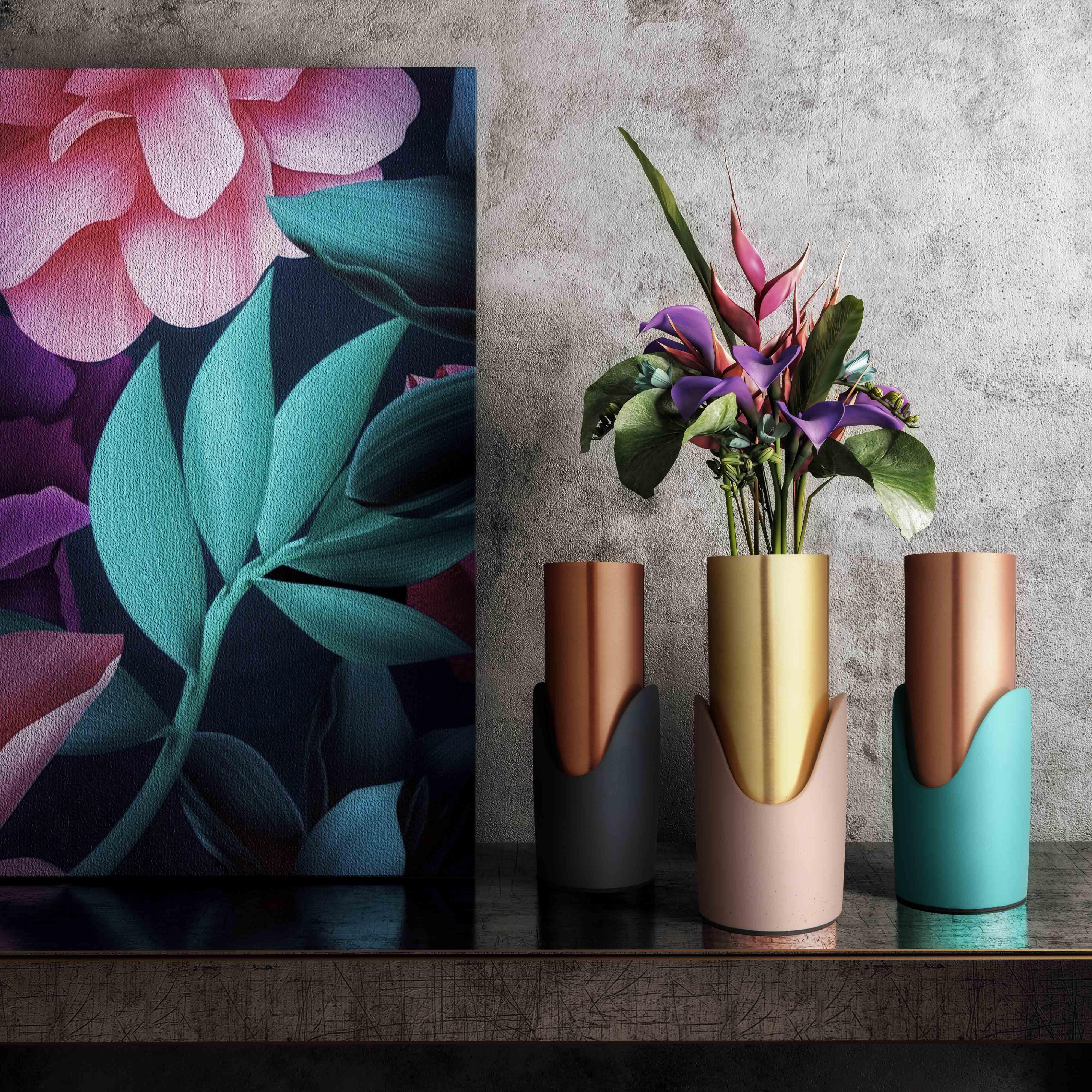 image of Blue Concrete Vase with sku:TOV-C18146