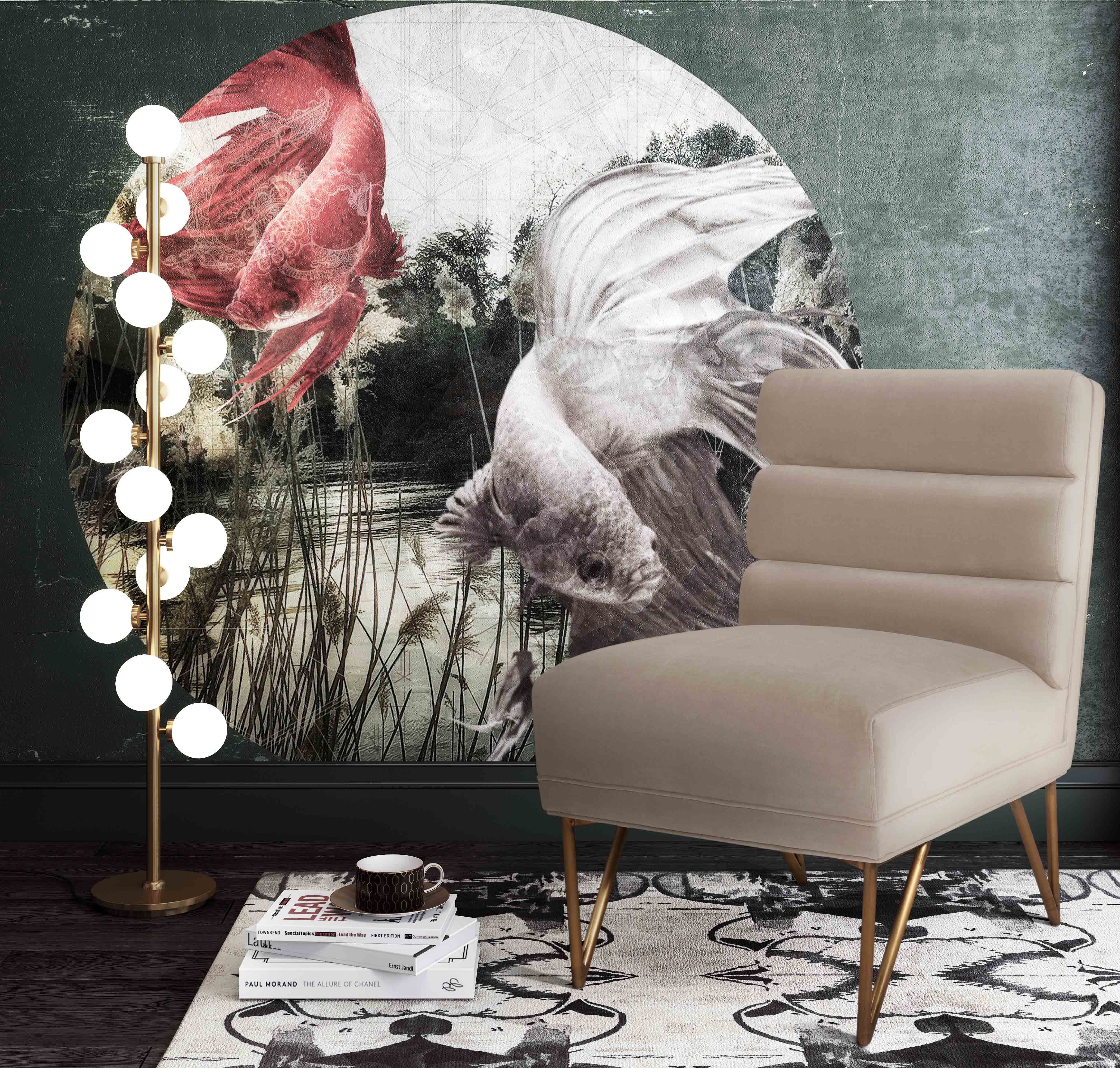 image of Kelly Cream Velvet Chair with sku:TOV-S6206