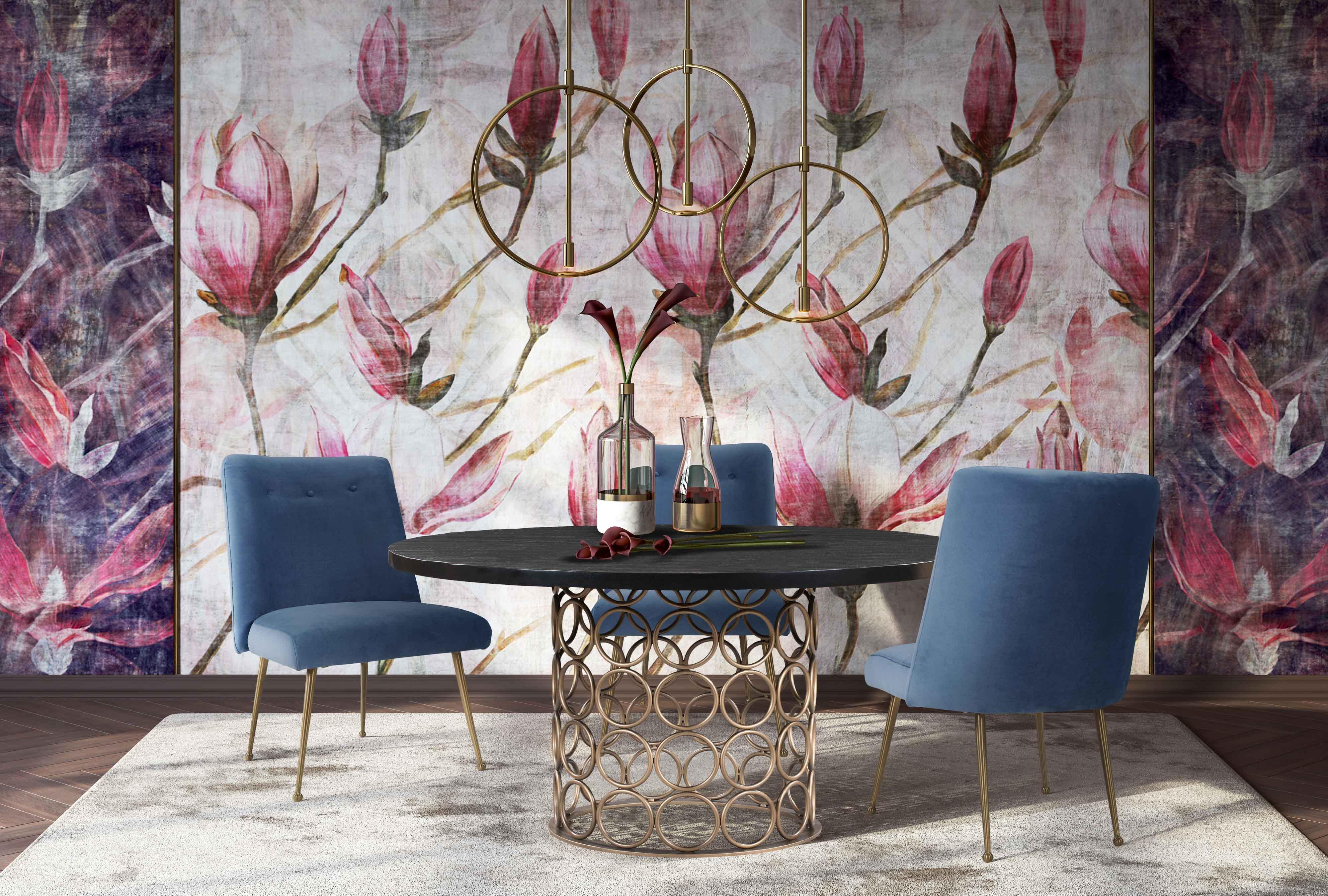 image of Batik Ocean Blue Velvet Dining Chair with sku:TOV-D6214