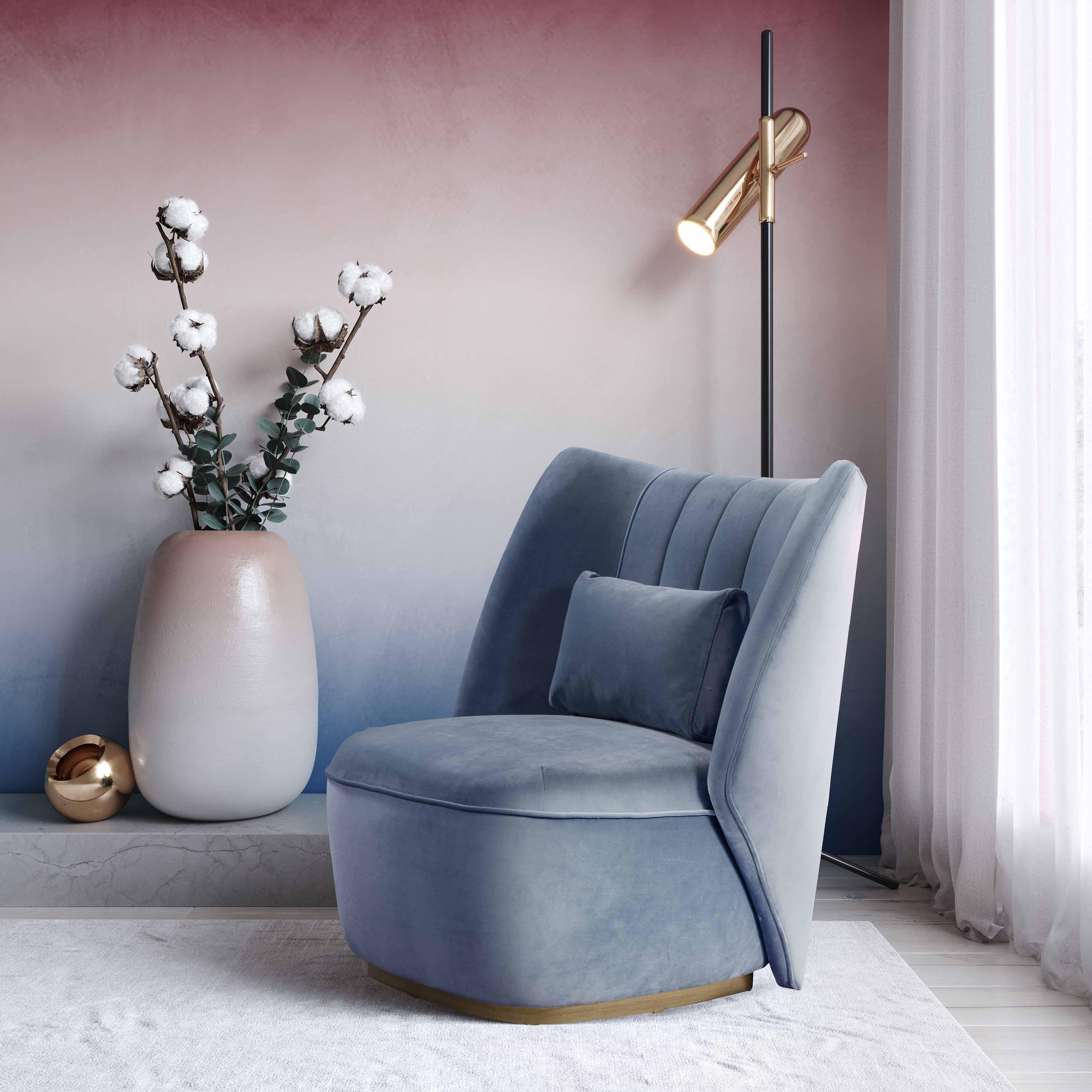 image of Reiko Cascadia Blue Lounge Chair with sku:TOV-S44029
