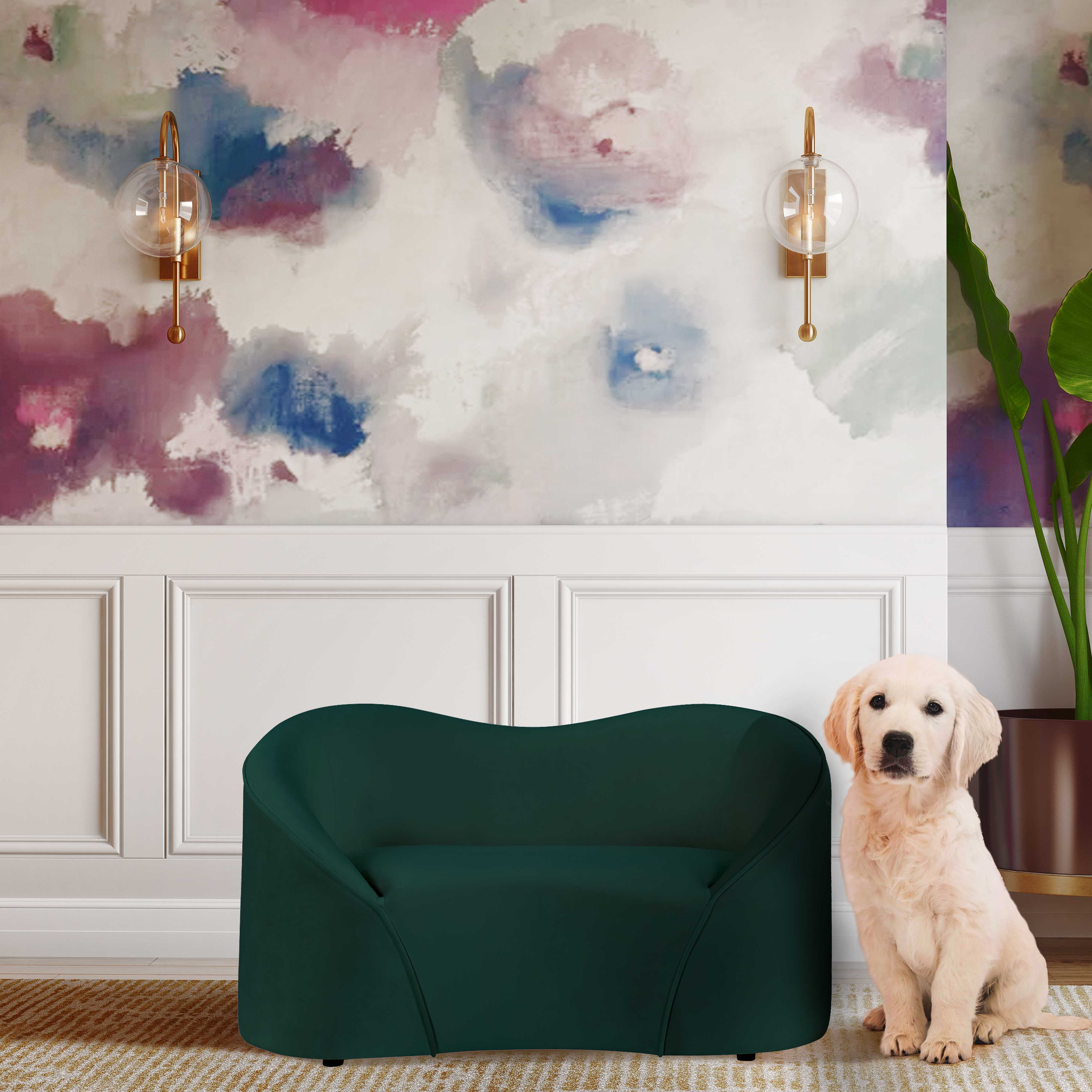 image of Poodle Forest Green Pet Bed with sku:TOV-P2044-FG