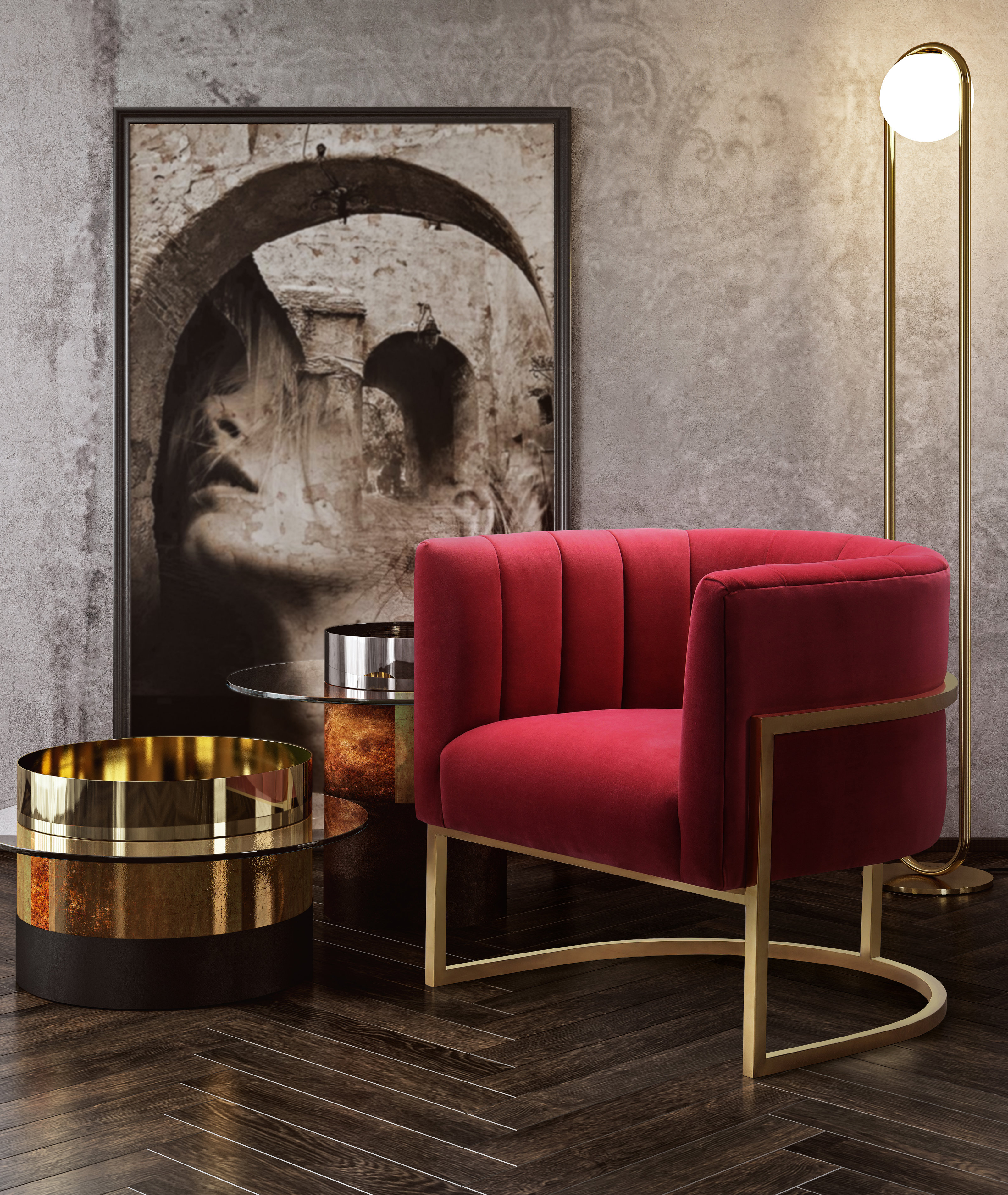 image of Magnolia Hot Pink Velvet Chair with sku:TOV-S6160